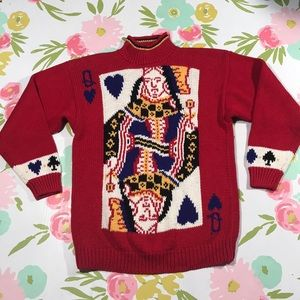 Vintage QUEEN of hearts heavy knit sweater Medium
